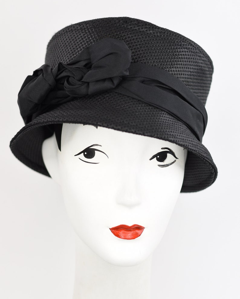 Black Jacquard bucket hat with twist knot black  bandEmily in Paris style!