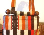 60s Bag Handbag Orange Brown Quiltes Vintage Bag Hippie