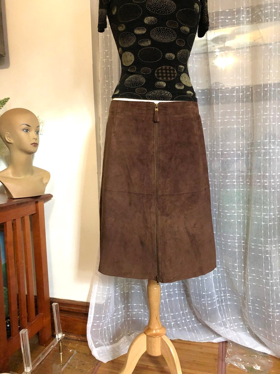 Suede Skirt//Size 12//Deep Brown Suede Skirt//Low