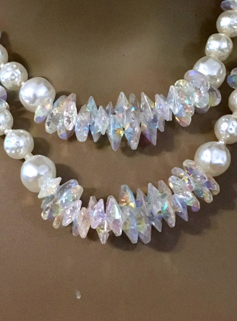 Pearl Crystal  Necklace Mid Century White Necklace  Necklace for the Bride
