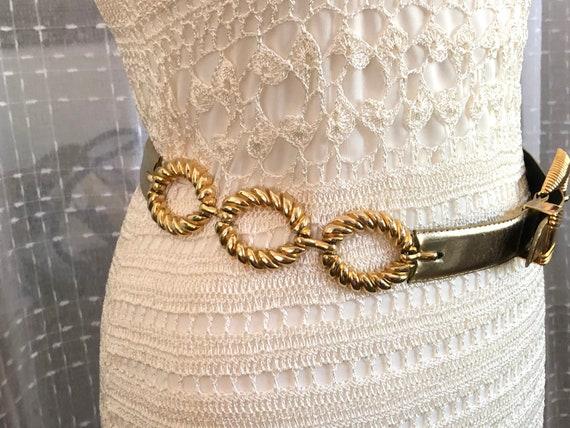 80s//Gold Leather Belt//Size S//Size M//Gold Belt - image 5