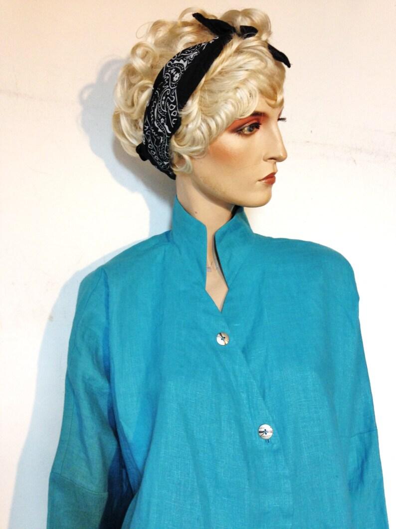 Linen Jacketsize14 Turquoise jacketAvant Garde80s Boho Jacket Itemz  Chris BaumgartnerArtisanal Clothing