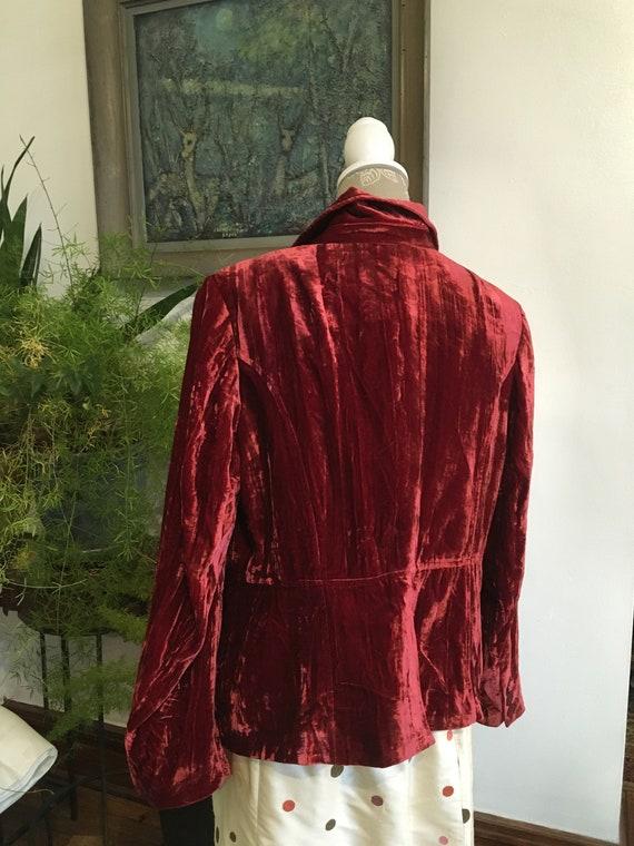 Vintage Velvet Jacket//Size 16//Red Blazer//Velve… - image 5