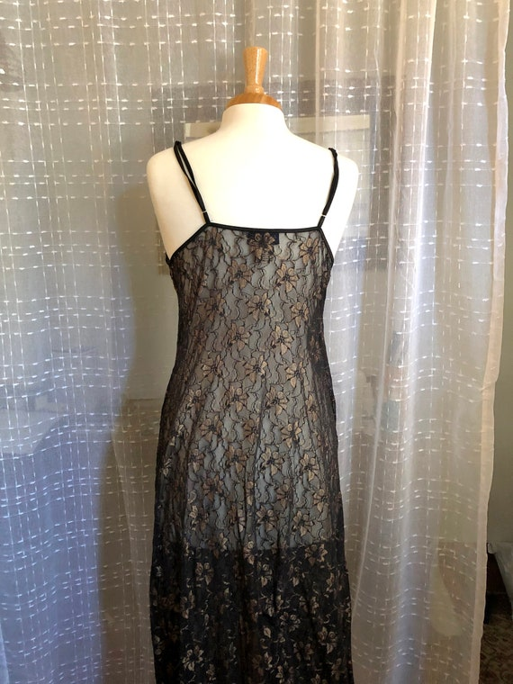 Long Black Nightgown//Size XL//Vintage Nightgown/… - image 7