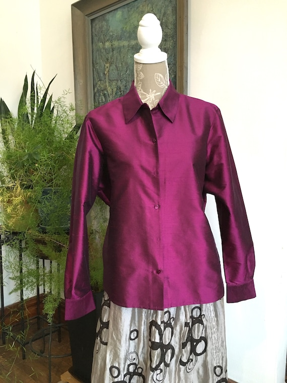 Blouse//Size 16/Purple Silk //Size XL//Silk Shantu