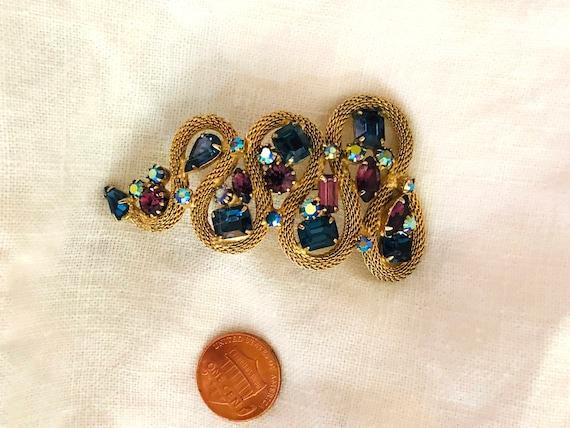 Blue Rhinestone Brooch//Vintage Brooch//Purple Rh… - image 3