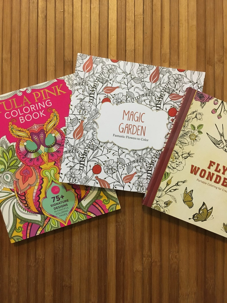 3 Adult Coloring Book Flying Wonders Tula Pink Coloring Book Magic Garden Fantastic Flowers To Color