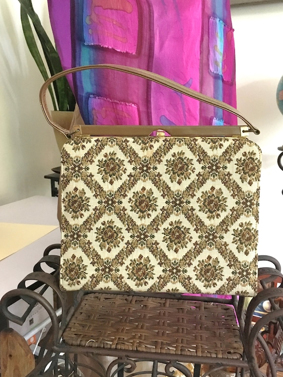 50s// Handbag // Tapestry//Purse // MINT // Bag //