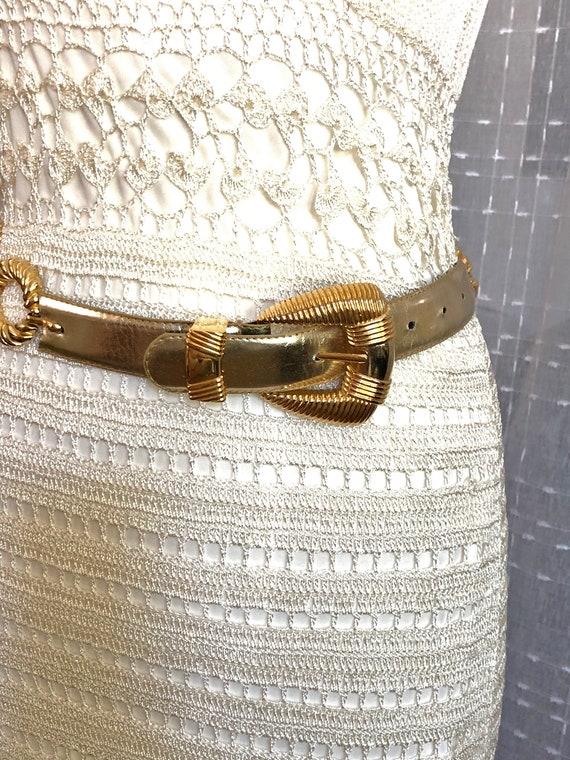80s//Gold Leather Belt//Size S//Size M//Gold Belt - image 4
