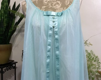 VIntage Blue Nightgown size L // 60s Nightgown // Warner Nightgown