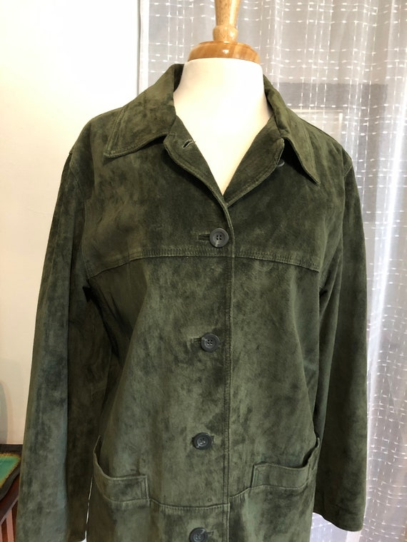 Suede Jacket//Size XL//St Johns Bay//Green Suede J
