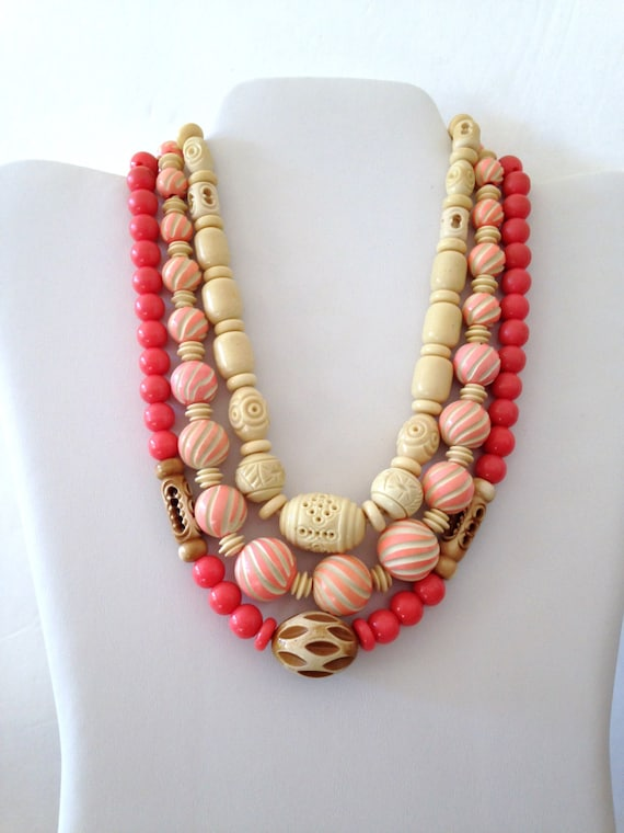 3// Celluloid Necklace // Pink //Ivory //20s //Car