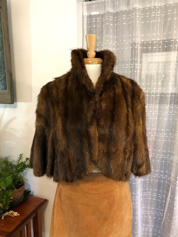 Muskrat Fur Cape//Size 6 to 8// Capelet//50s//Fur