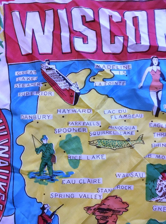 50s//WISCONSIN//Souvenir//Silk Scarf //Illustrate… - image 2