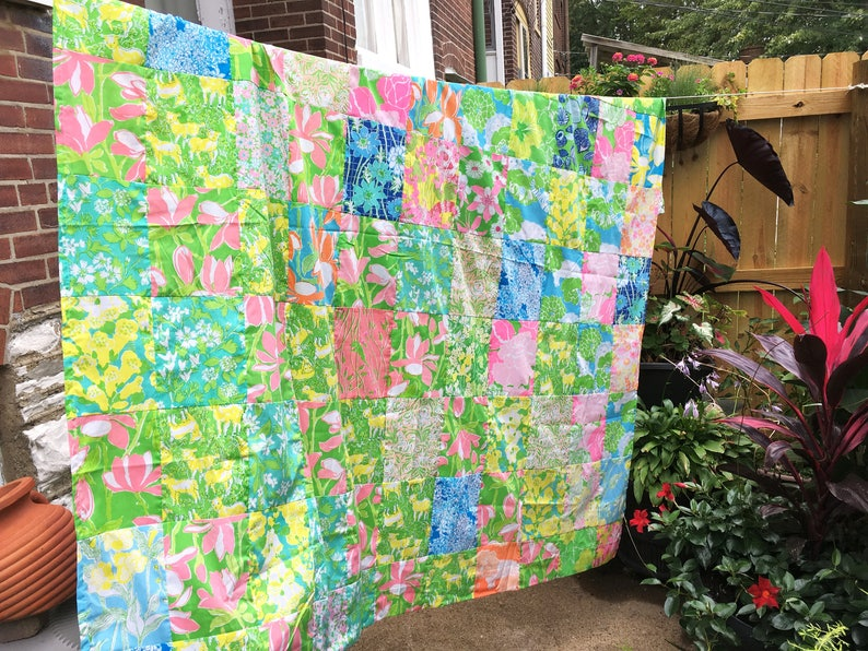 Lilly Pulitzer Shower Curtain Quilt Top Blocks