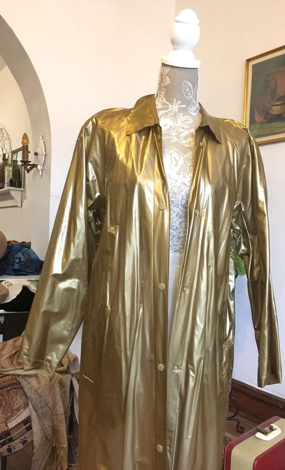 Vinyl Coat//Long Vinyl Coat//Gold Coat//Gold Rainc