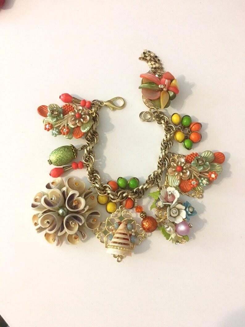 Charm Bracelet  Beach  Summer  Bracelet  Shell  Bracelet  Handmade in the USA  Chunky Bracelet