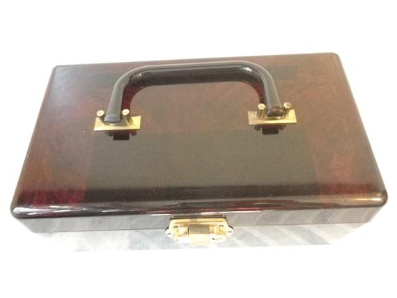 50s//Lucite Handbag//Bag//Purse // Large //Brown … - image 3