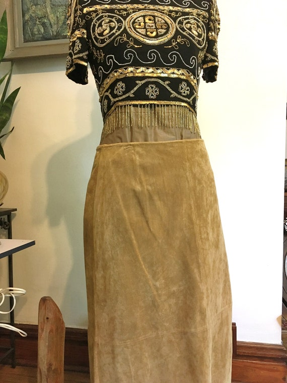 Long Suede Skirt// Size 12// Suede Skirt//Long Ski