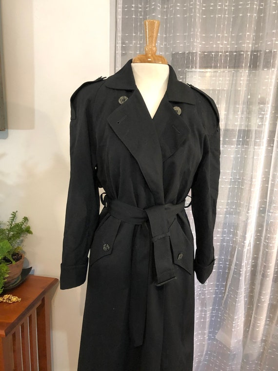 Wool Coat//Gabardine wool coat//Black Wool Trench