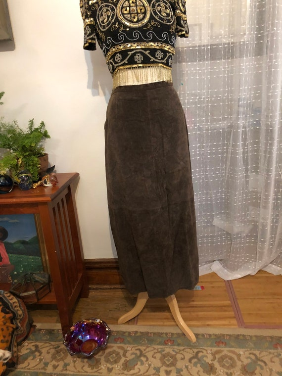 Suede Skirt //Size 16//Long Suede Skirt//Seaweed G