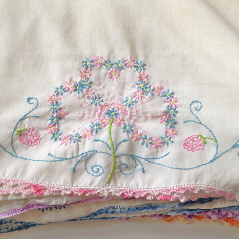 14  Embroidered Pillowcases  Vintage Pillowcase   with Crochet Edges  cottage linens  AirBnB