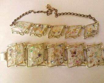 Confetti Lucite Necklace & Bracelet Vintage 50s Demi Parure