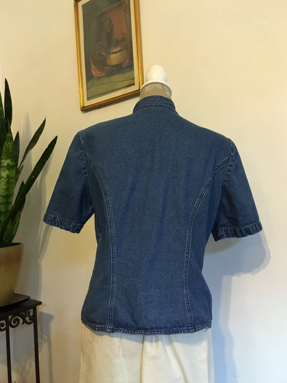 Denim Blouse//Size 12//Fitted Blouse//80s Jean Bl… - image 6