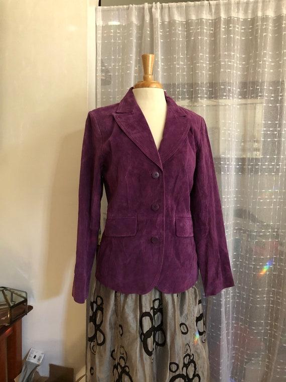 Suede coat//Size M//Purple suede jacket//Suede Bla
