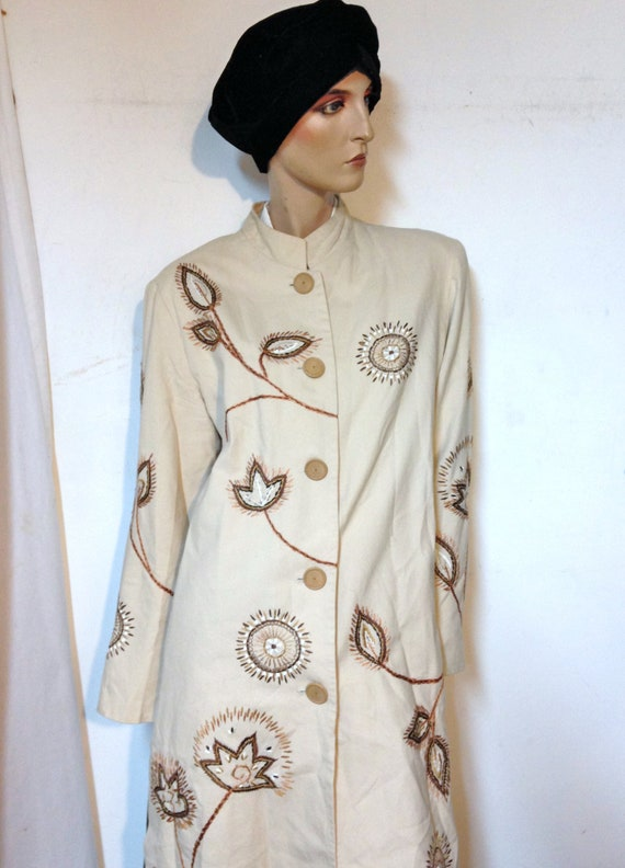 Duster//Coat/Size 12//Embroidered Coat// Cotton co
