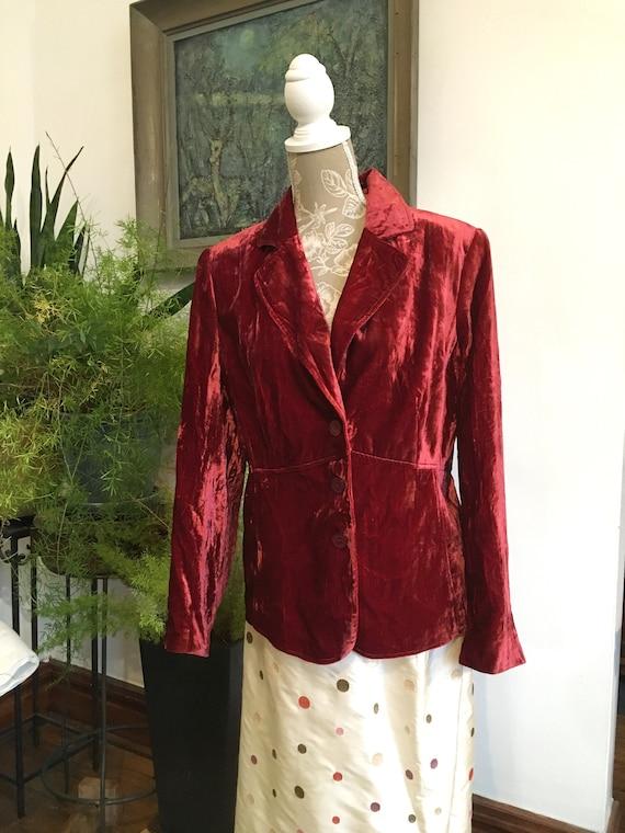 Velvet Jacket//Size 16//Red Blazer//Velvet Blazer/