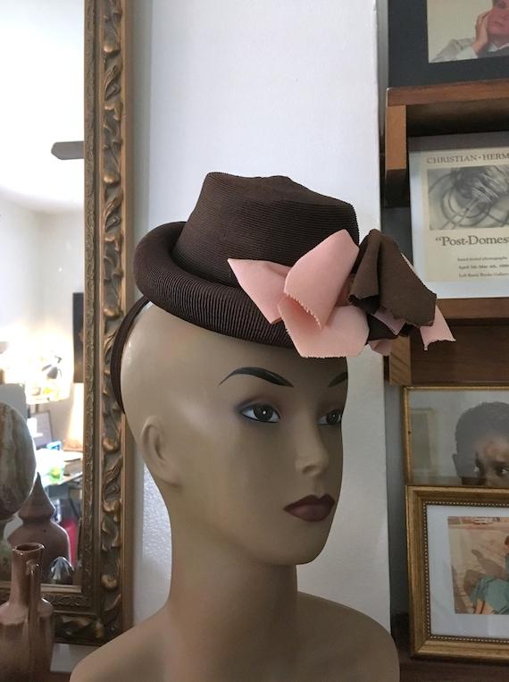 40s Hat//Tilt Hat //Brown & Pink //Toy Hat//Pin up