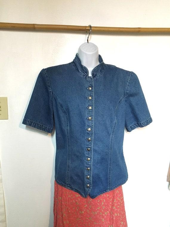 Denim Blouse//size 12//jean Blouse//prairie style/