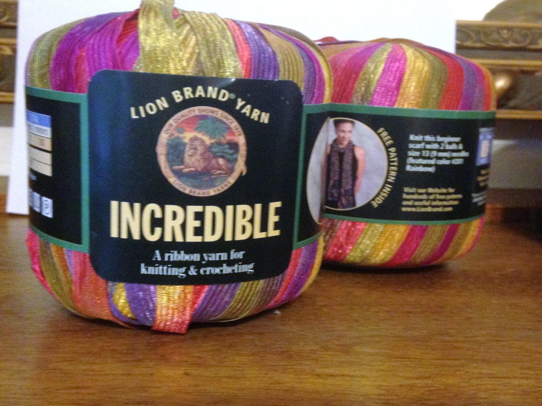 2// Ribbon // Yarn // Purple Party // Incredible Ribbon Yarn // TWO skeins  // Lion Brand