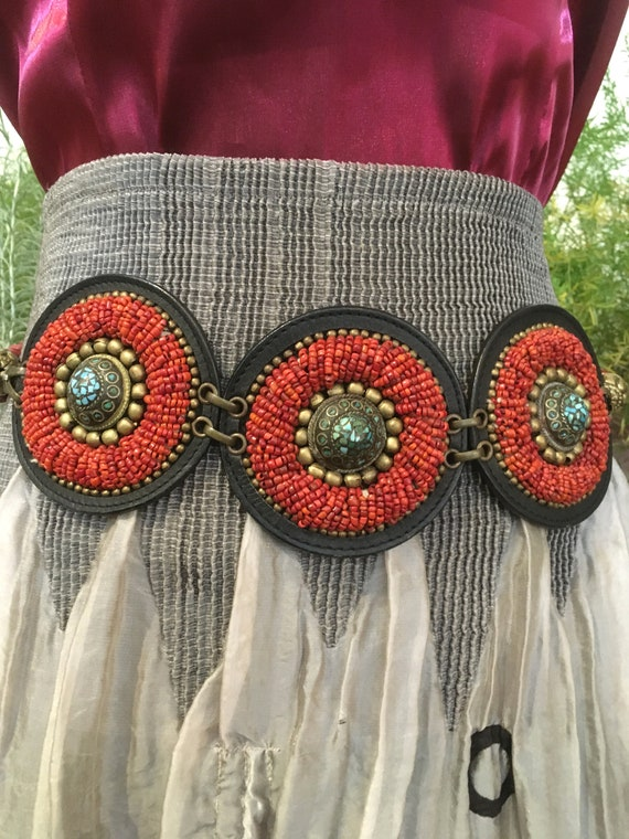 Concho Belt //Tribal Belt//Hip belt//Leather Belt