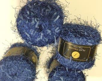 4 Filati Deluxe BLUE Yarn Lash & Ribbon Yarn