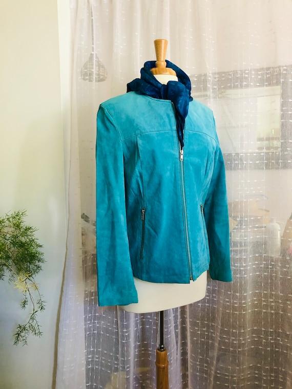 Suede jacket//Size L//Turquoise//Blue Suede jacket