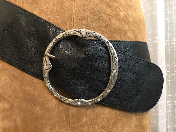Wide Belt//Wide Black Leather Belt//Size XXL//Hip… - image 2