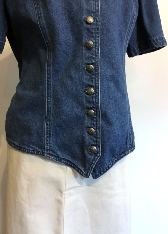 Denim Blouse//Size 12//Fitted Blouse//80s Jean Bl… - image 3