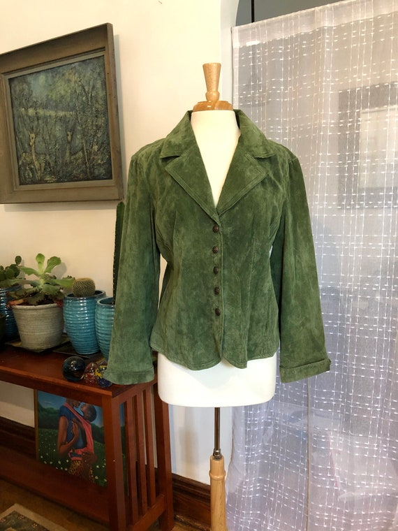 Suede Jacket//Size XL//Fitted//Green Suede Jacket/