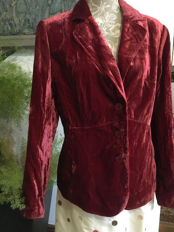 Vintage Velvet Jacket//Size 16//Red Blazer//Velve… - image 3