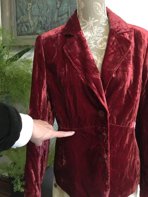 Vintage Velvet Jacket//Size 16//Red Blazer//Velve… - image 4