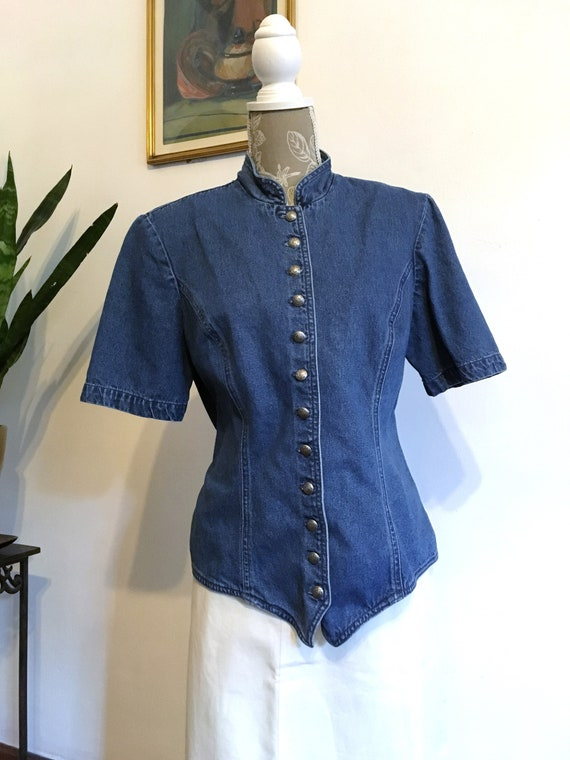 Denim Blouse//Size 12//Fitted Blouse//80s Jean Bl… - image 1