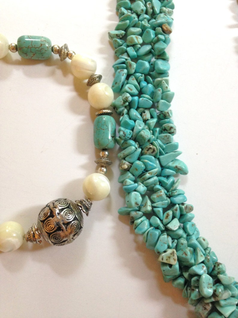 3Turquoise Necklace  Necklace Lot Mother of Pearl Blue Necklace Boho Necklace  LOT BLKMOP