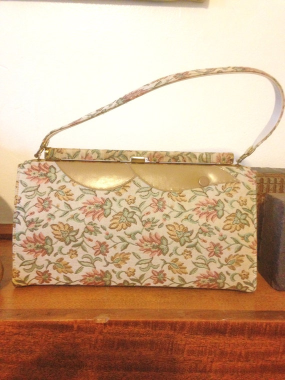 50s// Handbag // Purse // Tapestry //  Featherlite