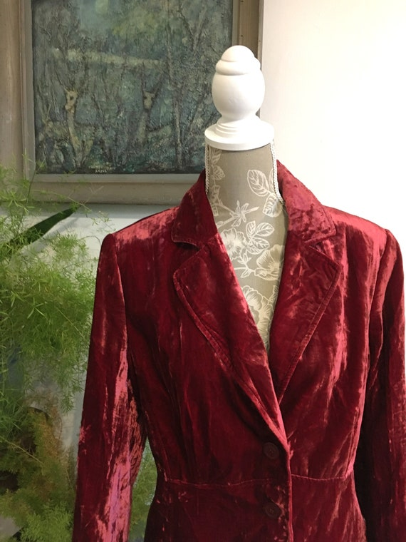 Vintage Velvet Jacket//Size 16//Red Blazer//Velve… - image 2