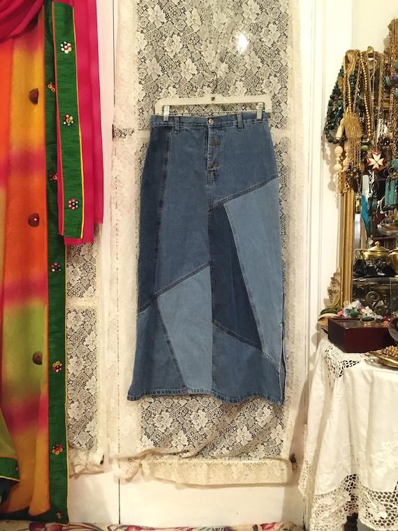 80s//Skirt//Patchwork //Denim Skirt// Size 10//Hig