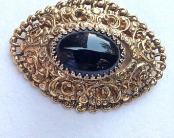Black Rhinestone Brooch Gold Brooch Orante Gold Pin Vintage 60s *