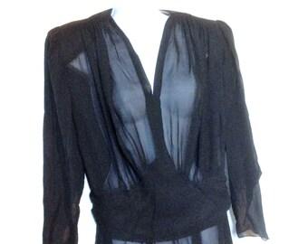 30s Black Silk Mourning Dress // Vintage Black Sheer Silk // Dress Size Xl to XXL // Vintage Silk Dress // Vintage 30s Dress
