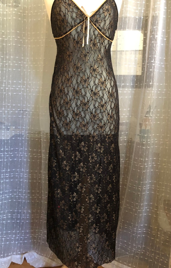 Long Black Nightgown//Size XL//Vintage Nightgown/… - image 4
